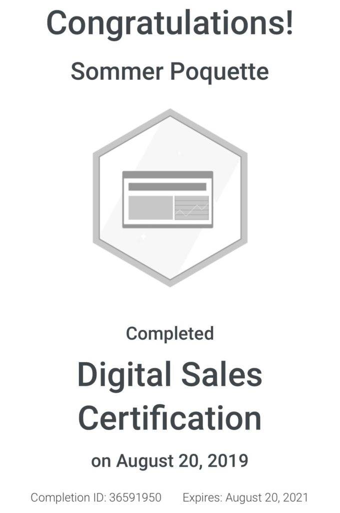 Sommer Poquette Google Digital Sales Certified