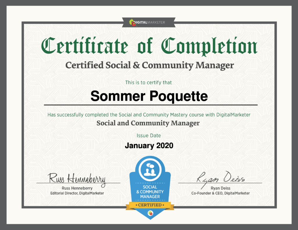 Sommer Poquette Keep it Real SocialCertified Social & Community Specialist