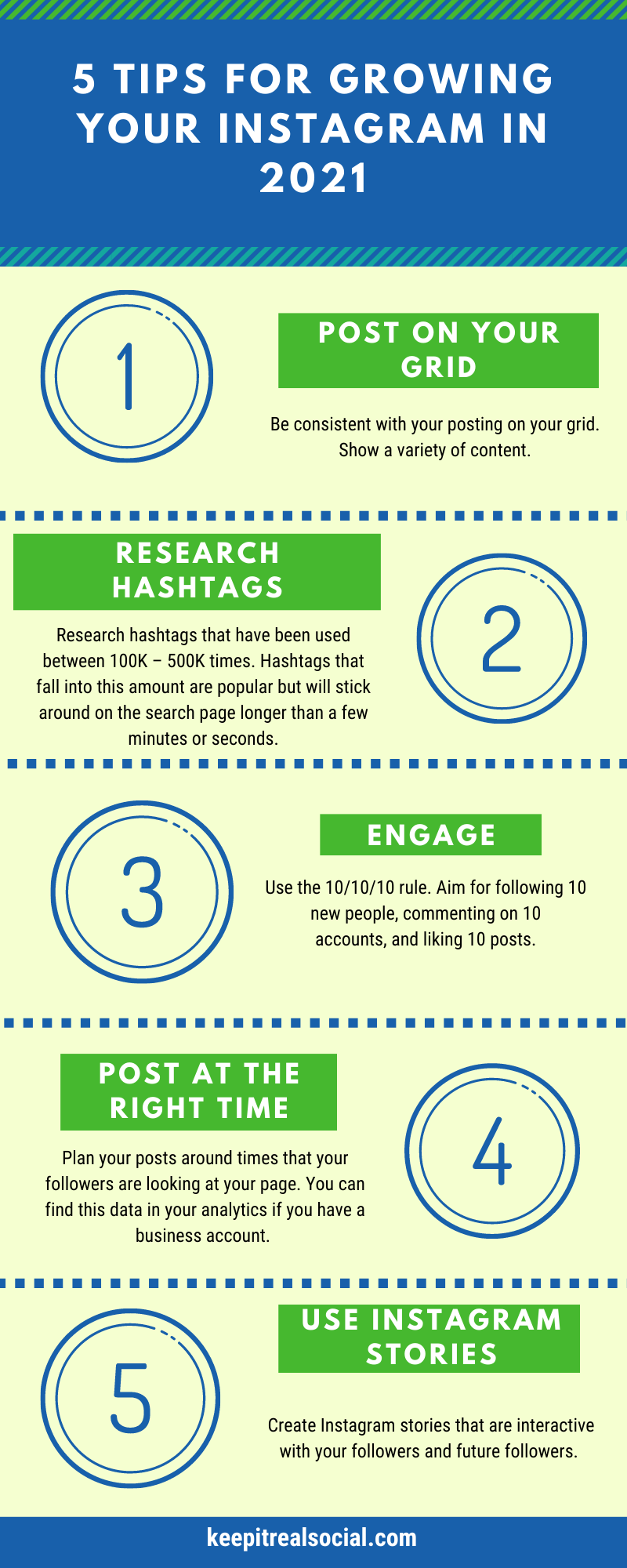5 Tips For Growing Your Instagram In 2021 Infographic